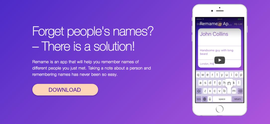 rename remember names app