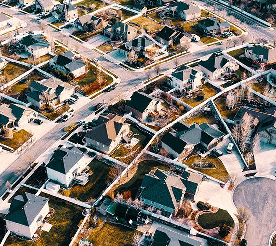 Bird's eye view of neighborhood homes on Google Street View.
