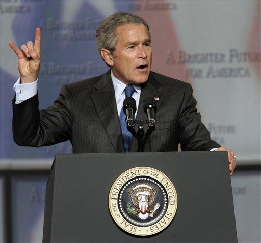 president bush says hook em!