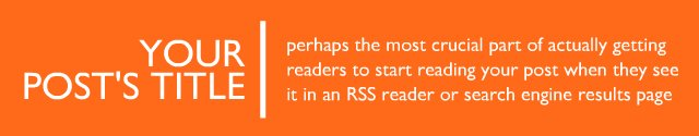 Your Post's Title - perhaps the most crucial part of actually getting readers to start reading your post when they see it in an RSS reader or search engine results page.