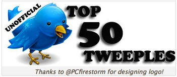 just announced  unofficial 2008 top 50 tweeples to follow c2ab lete28099s connect The (unofficial) Top 50 Tweeple has a very familar name (or two). . .