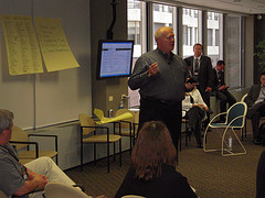 Dale Stinton addresses ReBarCamp attendees in Chicago