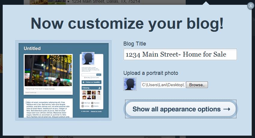 customize Using Tumblr.com as a Single Property Website