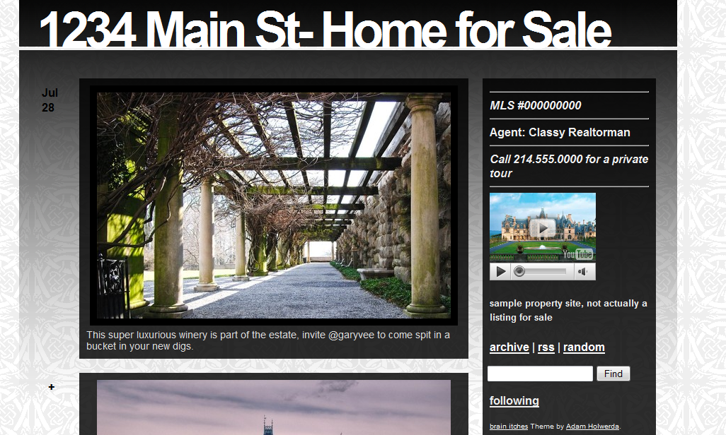 theme 4 Using Tumblr.com as a Single Property Website