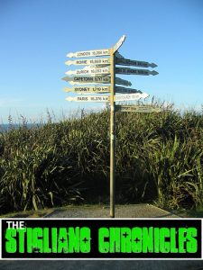 Signpost at Cape Foulwind, West Coast, NZ