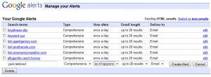 Google alerts (Click to view larger view)