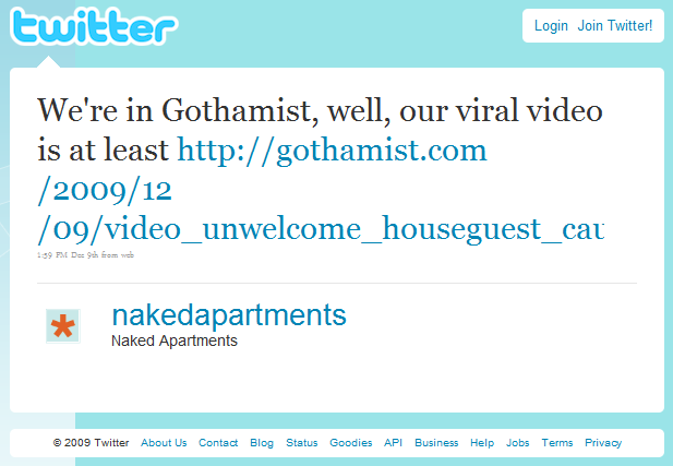 naked apartments' twitter comment