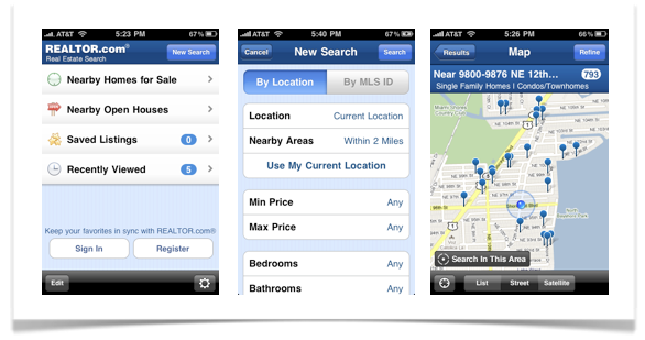 Realtor.com iphone app screen shot