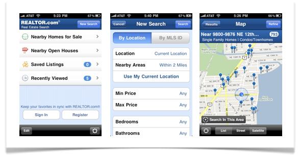 Realtor.com iphone app screen shot