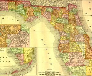 1895 Railroad Map of Florida