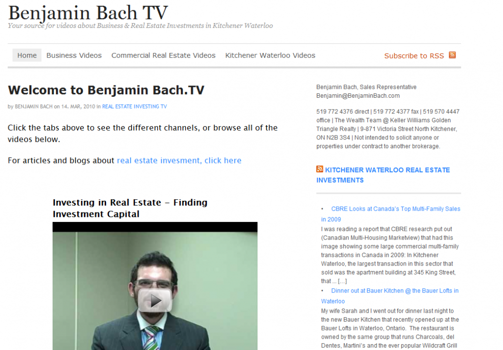 a screengrab of my Video Site