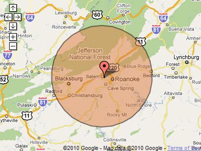 Roanoke, Virginia - 30 mile radius