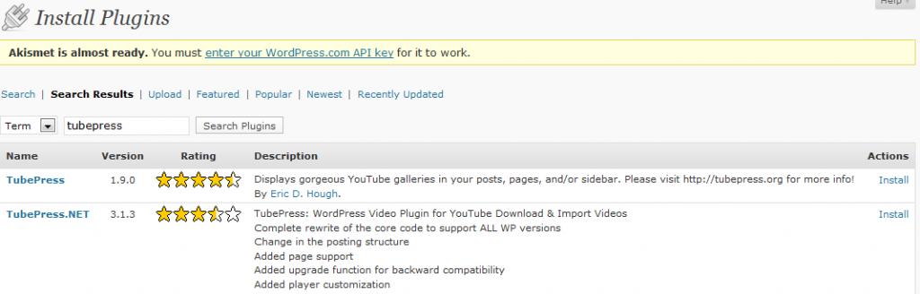 Tubepress WordPress plugin for online video