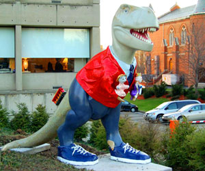 Mr. Rogers as a dinosaur. Original photo by Mike Procario.