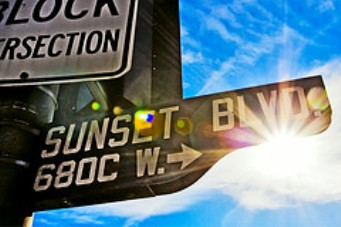 sunset sign with sun