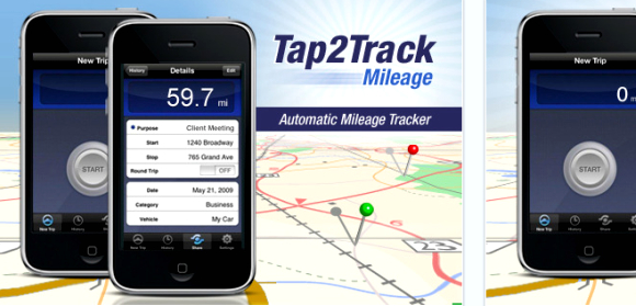 tap2track Mileage tracker apps for Android, iPhone & Blackberry