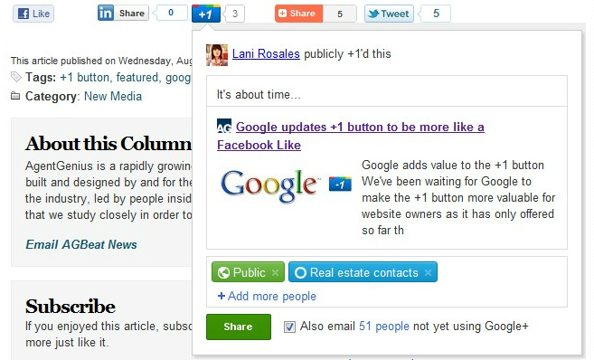 google plus sharing Google +1 button gets another update, offers new features