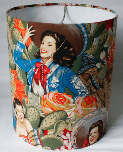 vintage mexican women lampshade Interior design trend spotting   quirky, vintage inspired lamp shades