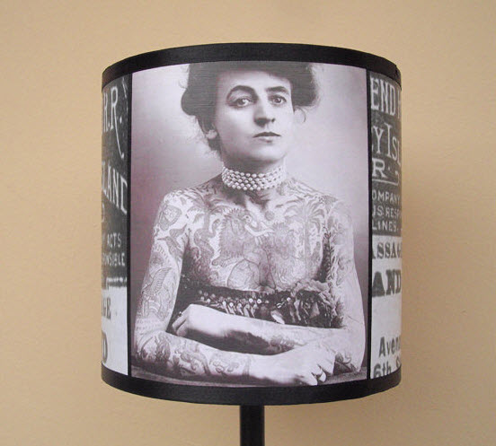 vintage tattoo lampshade Interior design trend spotting   quirky, vintage inspired lamp shades