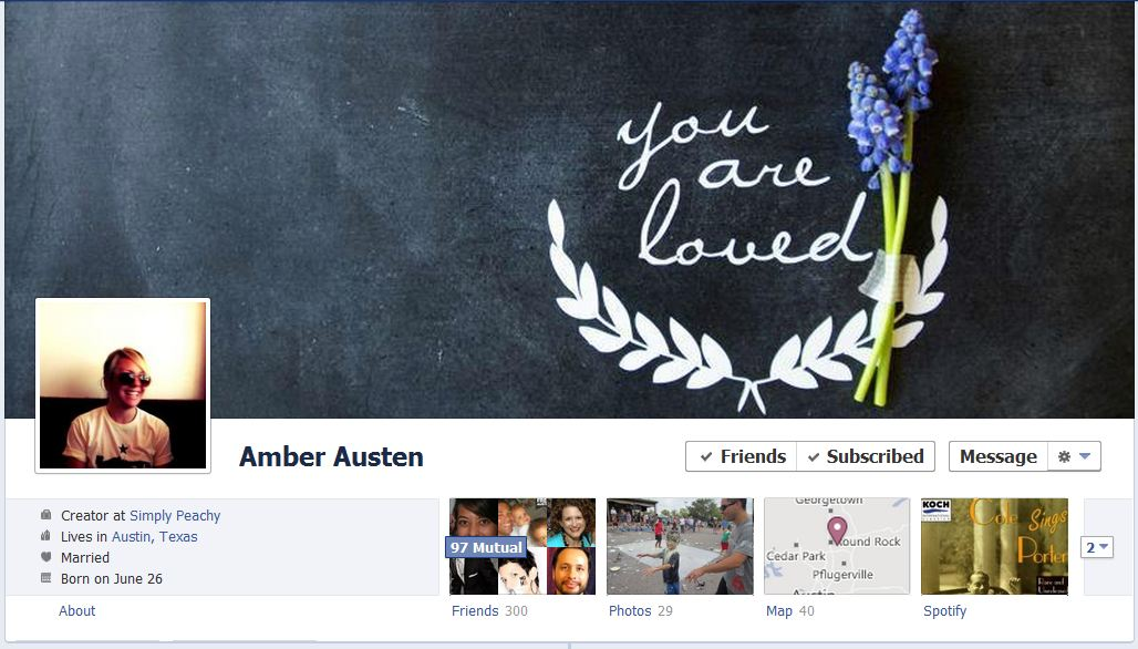 amber facebook 50 Facebook timeline covers   examples and best practices