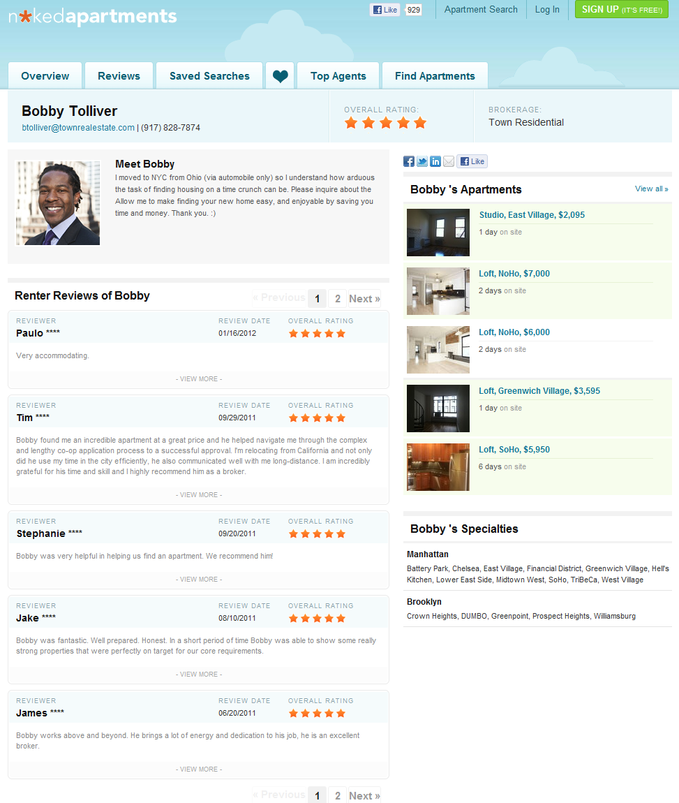 bobby tolliver New York City startup brings transparency to apartment search