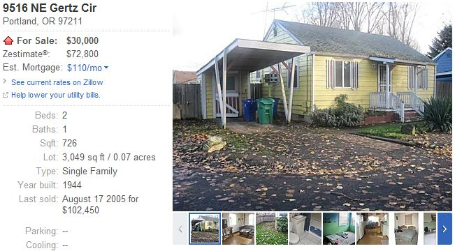 portland Twenty least expensive homes for sale in America
