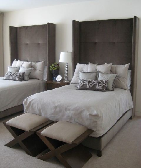 15 gorgeous upholstered headboards interior design for Guest bedroom furniture