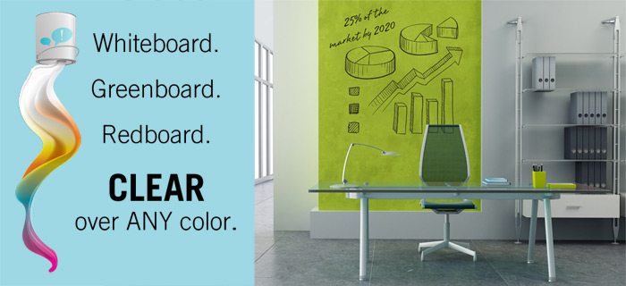 clear ideapaint makes any wall a dry erase board the american genius. Black Bedroom Furniture Sets. Home Design Ideas