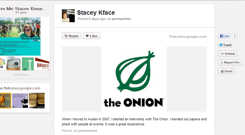stacey onion Wildly creative use for Pinterest: soliciting employers