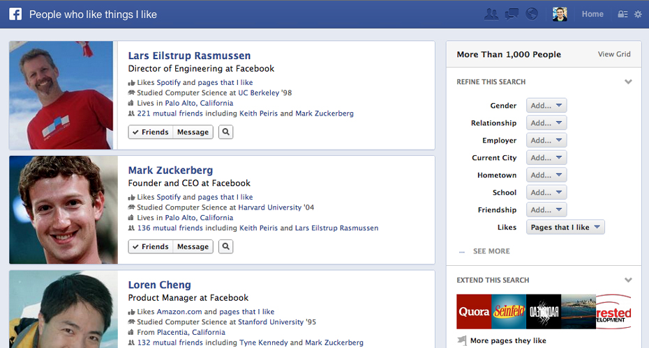 facebook search results Facebook search launches, changes the game, more to come