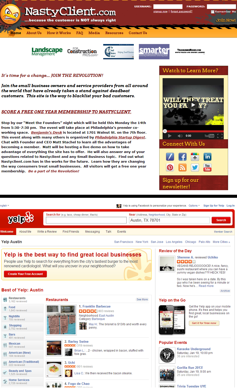 nastyclient.com vs. yelp