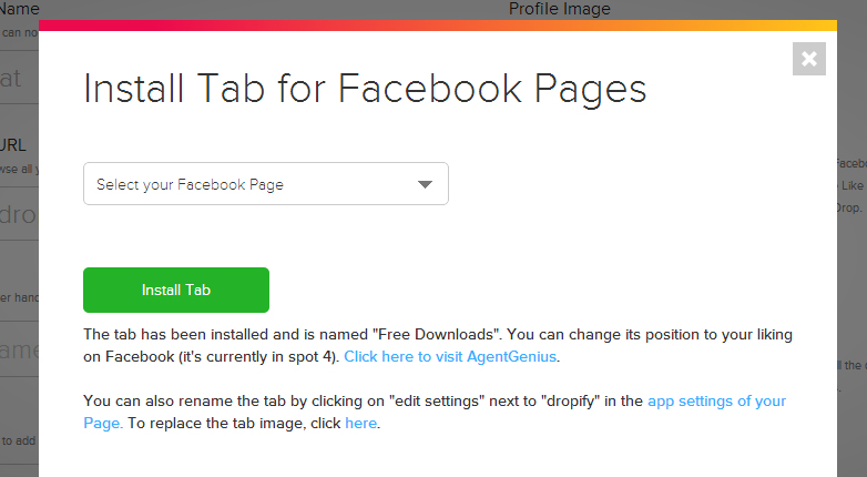 dropify install Dropify: free file sharing for Facebook Fan Pages