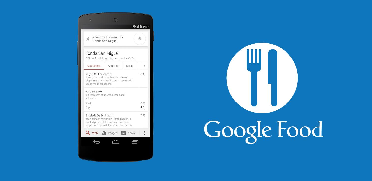 google food menus