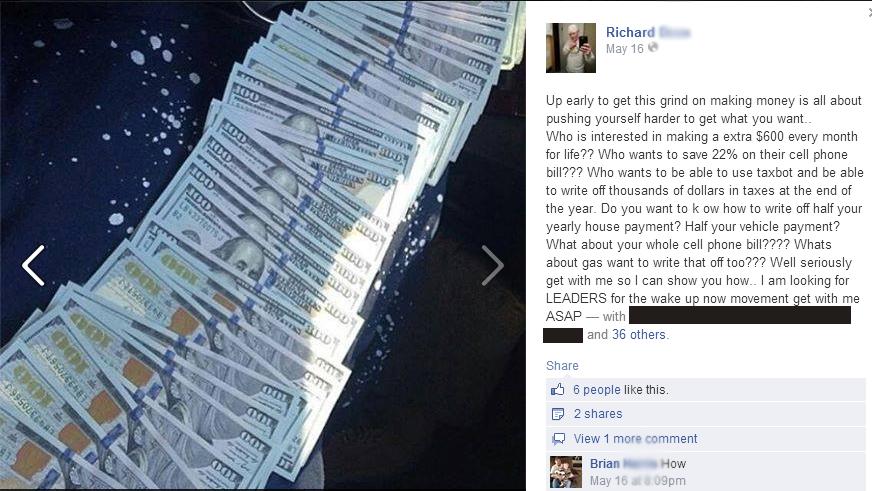 flashing cash on facebook