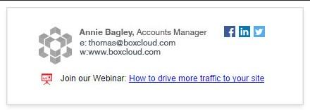 promote webinar through email signature