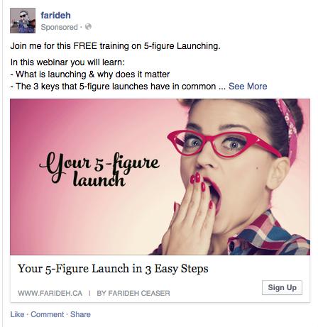 promote webinar through facebook