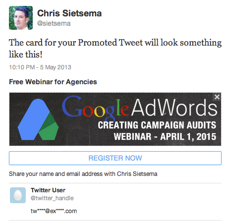 promote webinar through twitter cards
