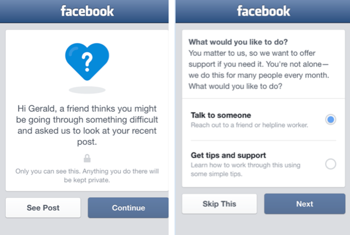 Facebook suicide prevention tools