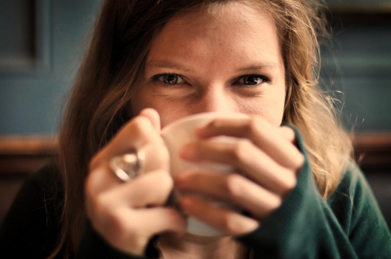 girl drinking cup tea