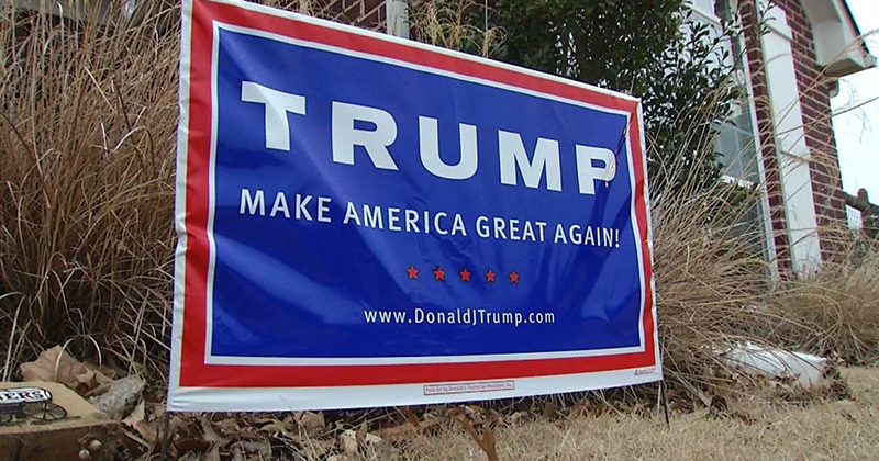 trump political yard sign civility