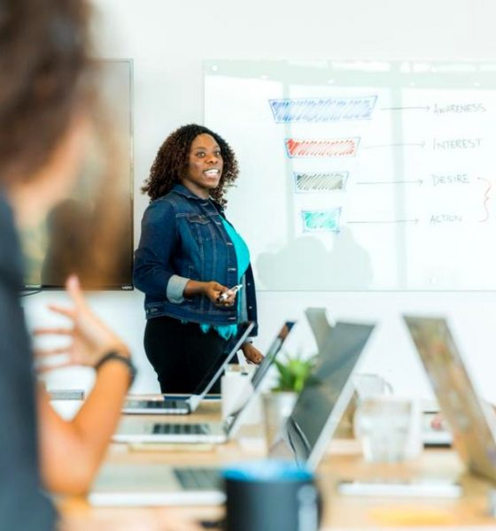 Startups meeting led by Black woman.