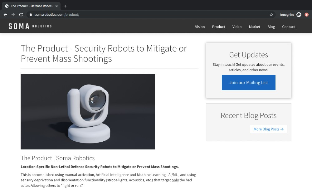 Soma robotics anti shooting device