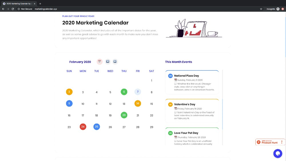 February marketing calendar