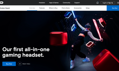 Oculus website home page, featuring their newest VR headset