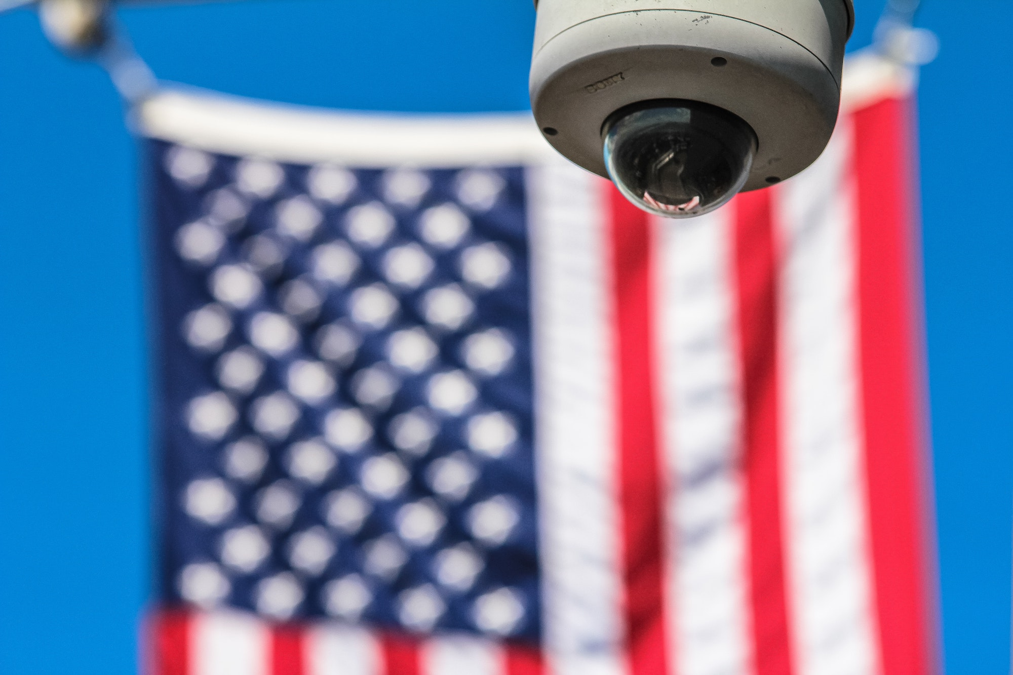 security camera with american flag in the background