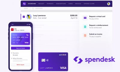Spendesk showing off its company credit cards.