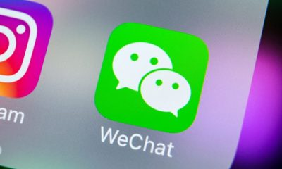 WeChat app icon on an iPhone screen