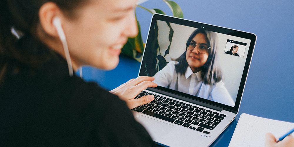 Two women in a Zoom meeting.
