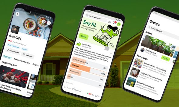 Nextdoor app screens on green background with house in neighborhood.