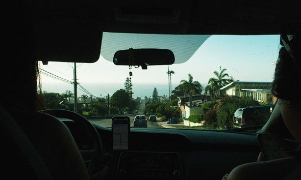 Interior of Uber and Lyft rideshare looking out on palm trees